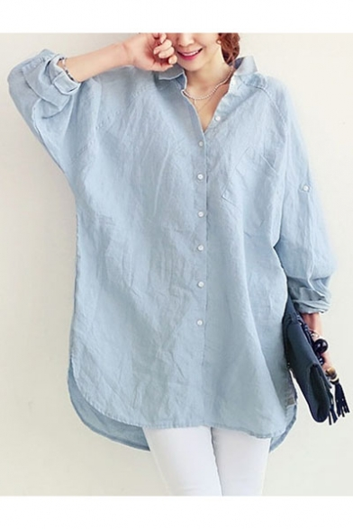 Long Plain Shirt Tunic Loose Oversize Lapel Leisure Collar Sleeve qntCXRfx