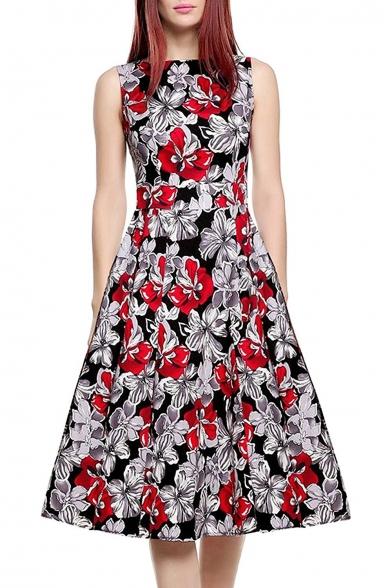 Glamorous Sleeveless Round Neck Floral Printed Midi Fit & Flare Dress