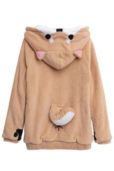 Lovely Cartoon Printed Long Sleeve Color Block Leisure Hoodie