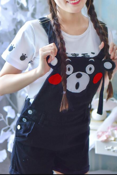 Lovely Cartoon Printed Overalls Shorts Denim Overalls with Pockets