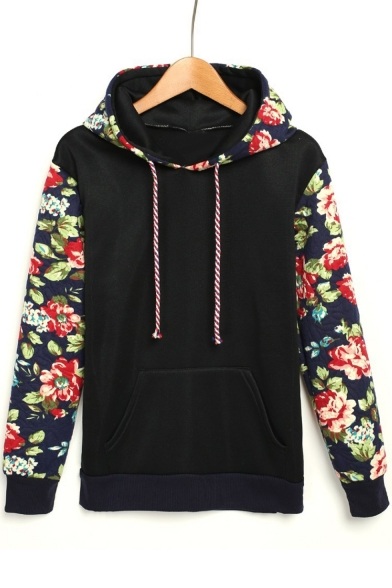 Retro Floral Pattern Long Sleeve Loose Leisure Hoodie with Pockets