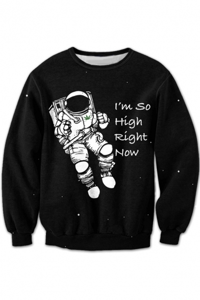 Graphic Pullover Neck Cartoon Sweatshirt Long Sleeve Unisex Round Printed Astronaut BqHnxpw8E