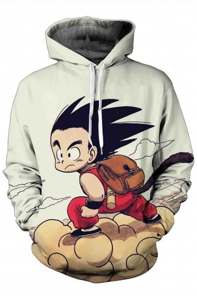Cartoon Printed Drawstring Hooded Long Sleeve Hoodie Sweatshirt with Two Pockets