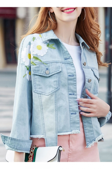 Chic Floral Embroidered Lapel Collar Long Sleeve Buttons Down Denim Jacket