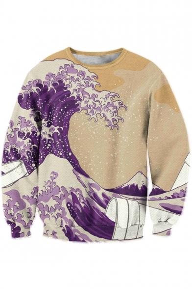 Digital Wave Printed Round Neck Long Sleeve Fashion Pullover Sweatshirt