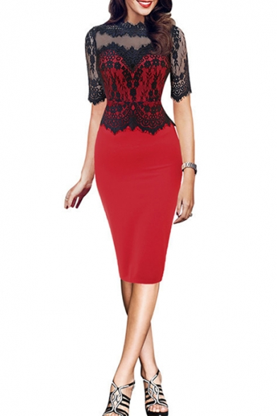 Glamorous Women's Lace Patchwork Half Sleeve Midi Pencil Dress