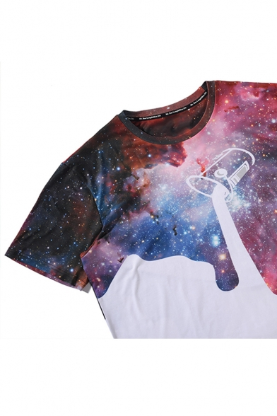 Round Pullover Neck Sleeve Hot Shirt Fashion T Short Printed Galaxy qw6Ot