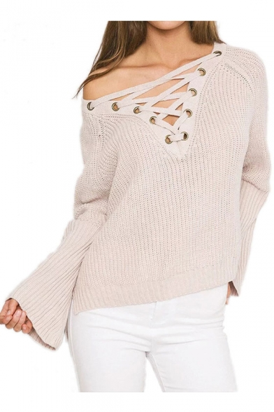 Hot Fashion Lace Up Front V Neck Long Sleeve Simple Plain Loose Sweater