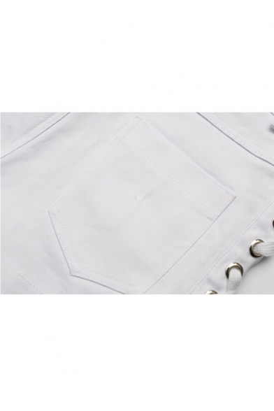 New Arrival Stylish Lace-Up Side Back Plain Mid Waist Hot Pants