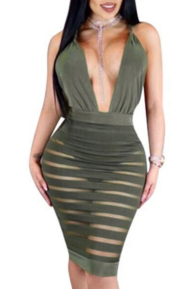 Sexy Plunge V-Neck Crisscross Back Striped Mesh Patchwork Sleeveless Plain Midi Bodycon Dress