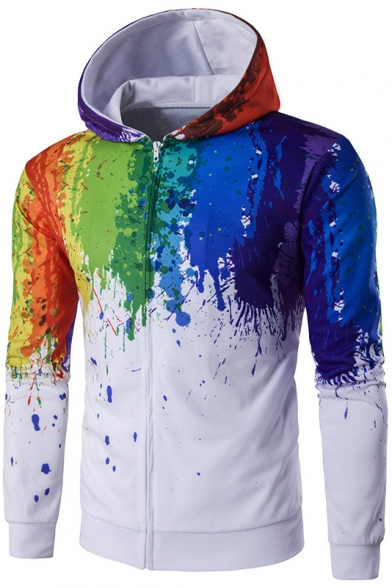 Splash-Ink Pattern New Fashion Long Sleeve Zip Placket Fitted Hoodie