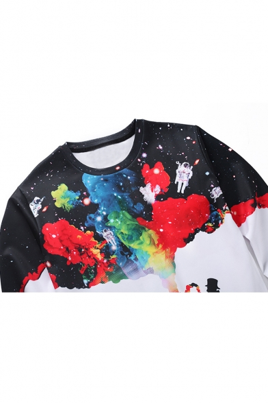 Sleeve Round Pullover Stylish Long Neck Leisure Sweatshirt Printed q7qwTIxz