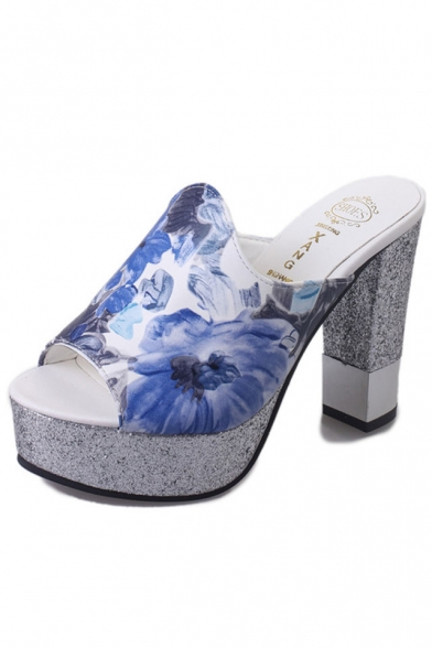 Women's Floral Printed Peep Toe Chunky Slippers
