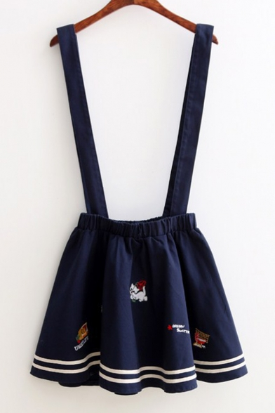 Cartoon Cat TV Embroidered A-Line Mini Pleated Overall Skirt