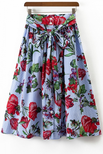Color Block Floral Printed Plaid Maxi A-Line Skirt with Button Closure