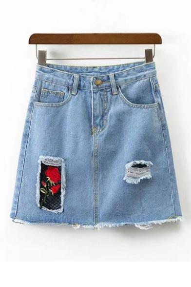 patchwork mini denim skirt
