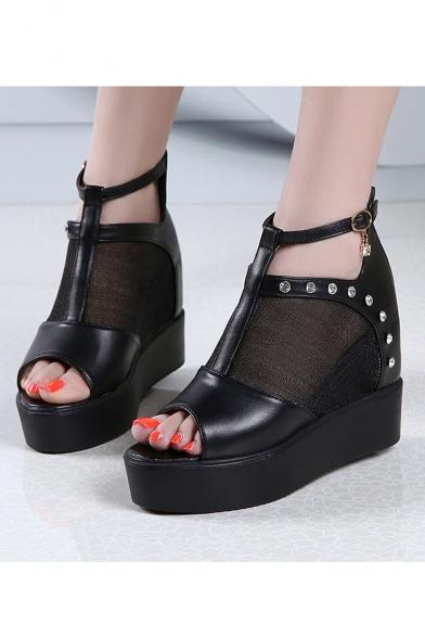 Fashion Sheer Mesh Zipper Back Peep Toe Platform Sandal