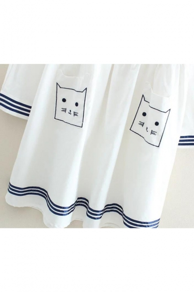 Dress Long Embroidery Sleeve Cat Mini Contrast Trim Smock Striped Lapel Pattern Lovely CWqRpfPwW