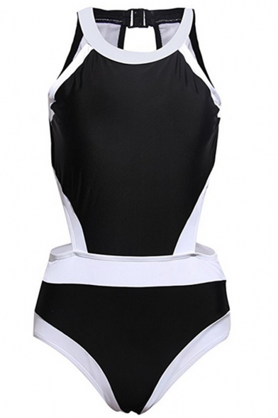 New Fashion Color Block Round Neck Open Back One Piece Swimwear