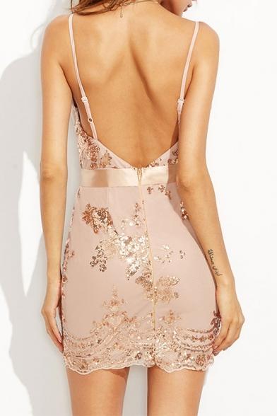 New Sexy Spaghetti Straps Open Back Sequined Design Mini Bodycon Slip Dress