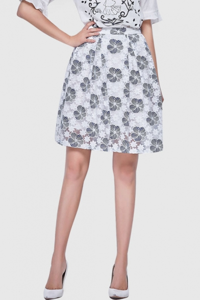 Summer's Fresh Floral Pattern High Waist A-Line Midi Skirt ...