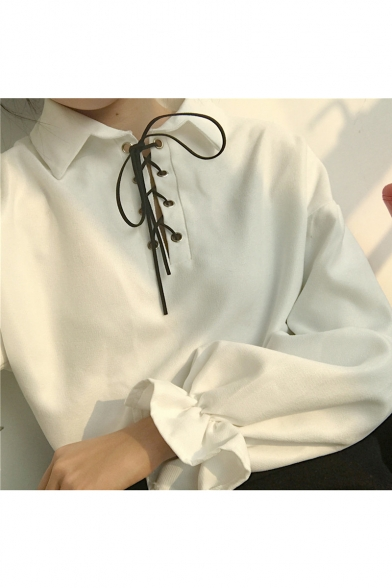 Women's Lace-Up Front Lapel Bell Long Sleeve Plain Blouse