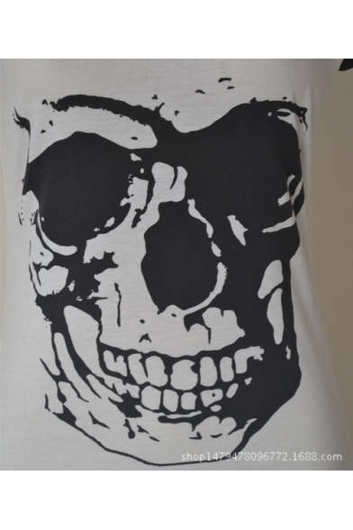 Women's V-Neck Skull Printed Sleeveless Mini Tank Dress