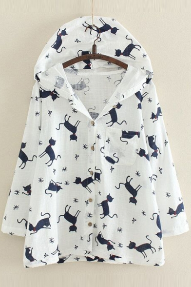 Cartoon Cat Printed Long Sleeve Single Breasted Hooded Linen Sun Protection Coat