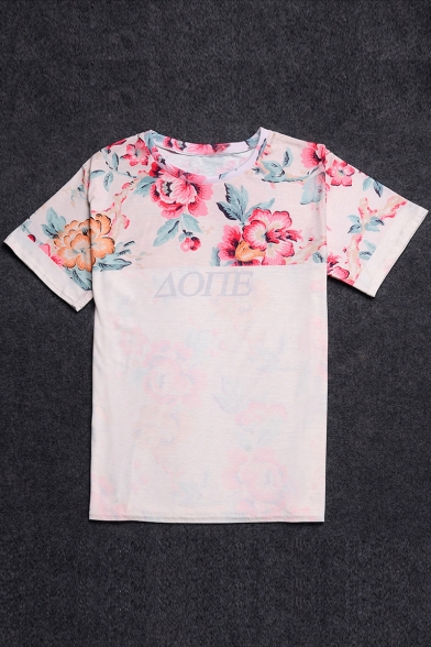 Fashion Floral Printed Color Block Short Sleeve Round Neck Tee