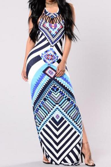Hot Fashion Halter Neck Tribal Printed Split Side Bodycon Maxi Dress