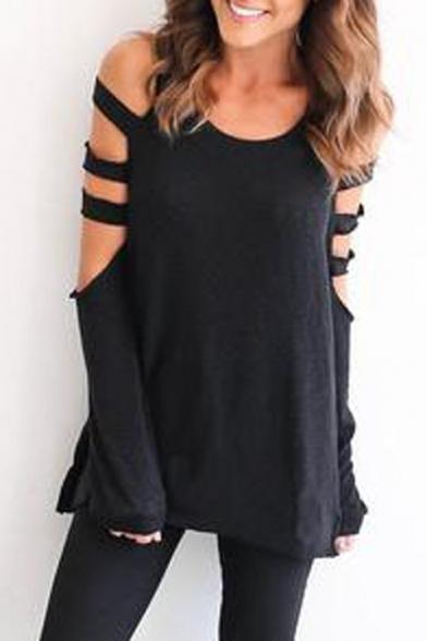 Women's Cutout Long Sleeve Round Neck Plain T-Shirt
