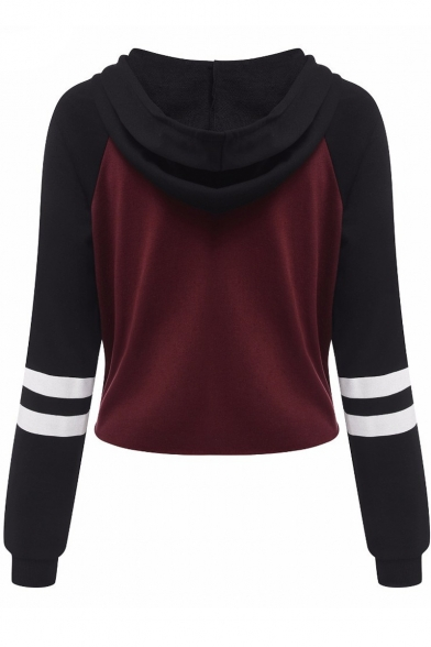 Sports Color Sleeve Cropped Long Letter Hoodie Printed Block OxwOqX