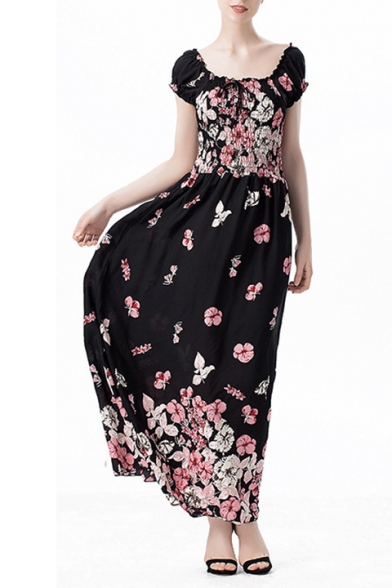Elegant Women's Squared Neck Short Sleeve Floral Printed Maxi A-Line Dress