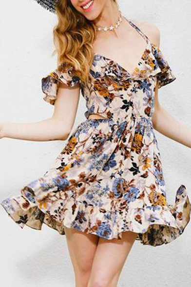 Fashion Women's Cold Shoulder V-Neck Short Sleeve Floral Printed Mini A-line  Dress