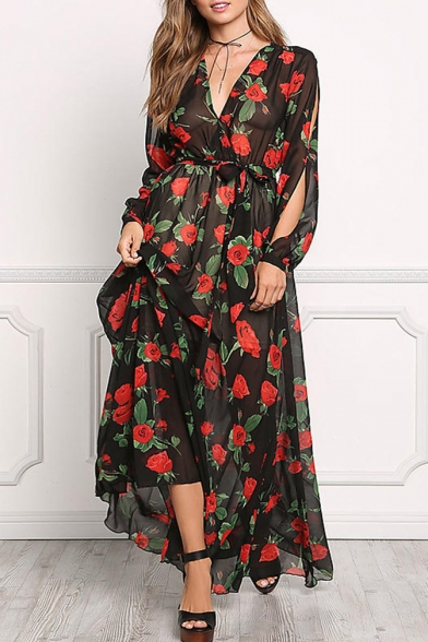 Floral Printed Plunge Neck Long Sleeve Cut Out Sleeve Maxi A-Line Dress