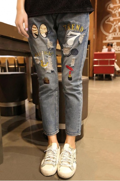 Oversize Ripped Embroidery Pattern Fashion Straight Ankle Jeans