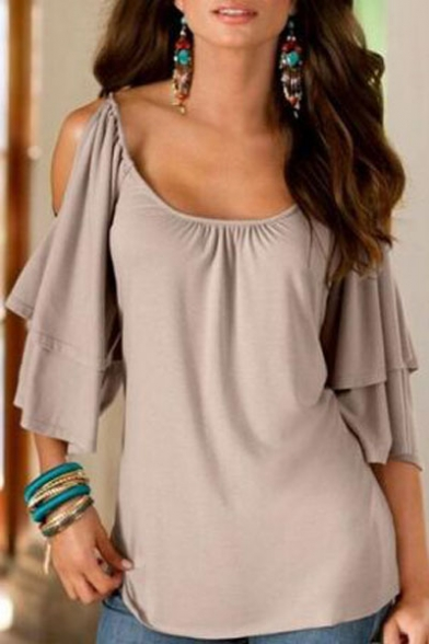 Pullover Neck Sleeve Plain Cold T Shoulder Shirt Ruffle Scoop 1xfYf7