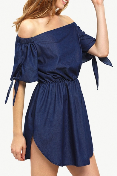 Sexy Off The Shoulder Short Sleeve Bow Tie Cuff Plain Mini A-Line Dress