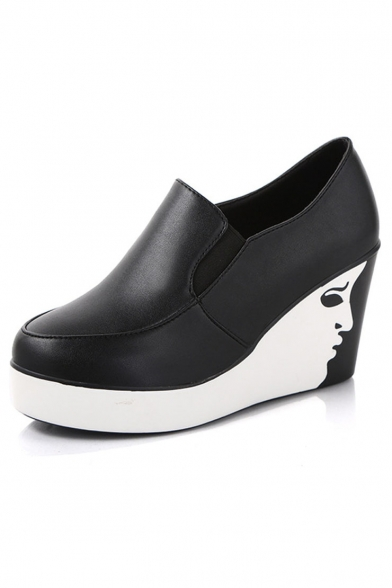Simple Fashion PU Upper Round Toe Wedge Heel Slip On Shoes