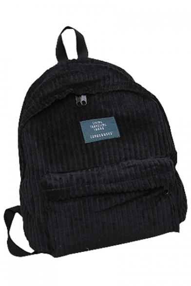 Unisex Simple Plain Corduroy Backpack