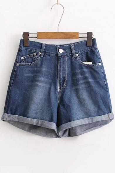 Loose Turn Up Hem High Waist Plain Basic Wide Leg Denim Shorts ...
