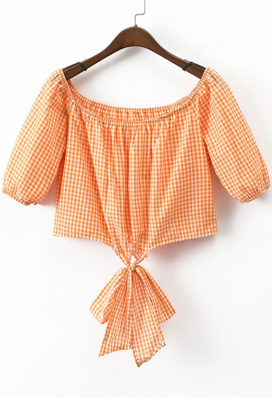 New Arrival Boat Neck Short Sleeve Plaids Printed Cropped Blouse