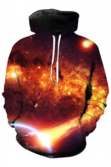 New Fashion Galaxy Printed Long Sleeve Loose Hoodie with Pockets