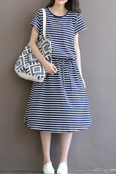 65e834555a1 ... Retro Striped Print Round Neck Short Sleeve Cotton Maxi Leisure T-Shirt  Dress