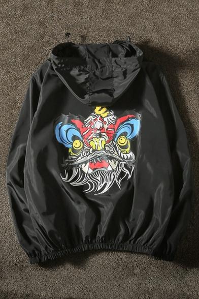 Cartoon Lion Printed Long Sleeve Hooded Zip Placket Unisex Sports Coat