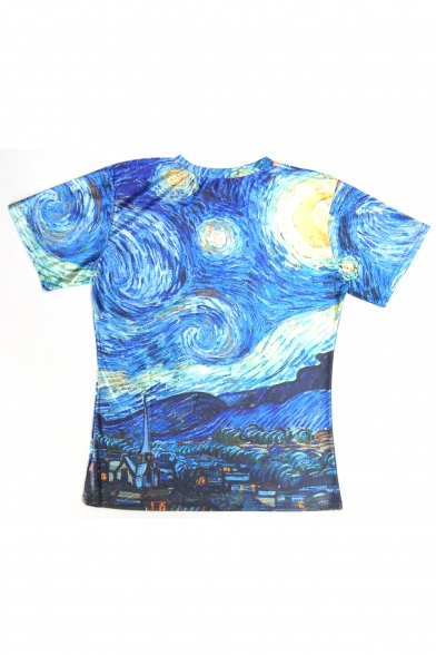 Pullover T Printed Sleeve Short Galaxy Round Loose Leisure Shirt Neck 7w0c8q