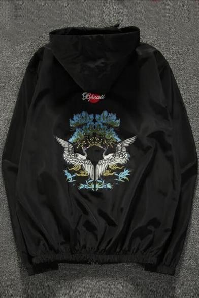 Style Sleeve Crane Long Hooded Sun Coat Hop Protection Hip Printed AwXq7nT