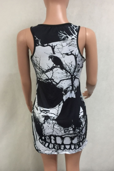 New Scoop Sleeveless Mini Neck Skull Bodycon Printed Arrival Tank Dress BtqSxwPB