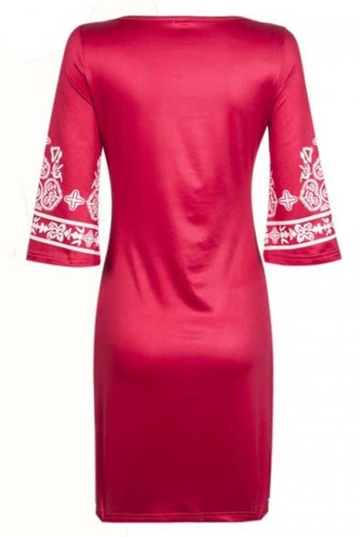 Women's Embroidery Tribal Pattern V-Neck 3/4 Length Sleeve Mini Dress
