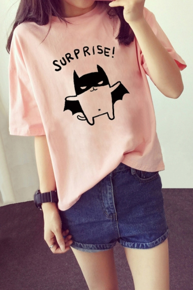 Cute Cartoon Bat SURPRISE Printed Short Sleeve Round Neck Graphic Tee